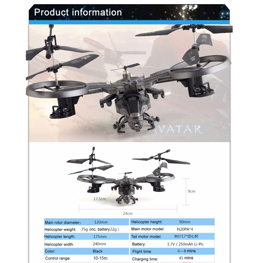 ATTOP Avatar Licensed 2.4G RC Quadcopter Infrared Remote