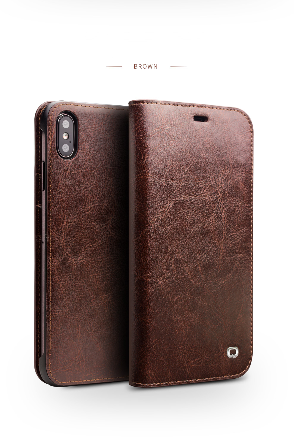 9b2d760ee2a Details about QIALINO Genuine Cowhide Leather Wallet Case Cover for iPhone  Xs Max 6.5 inch